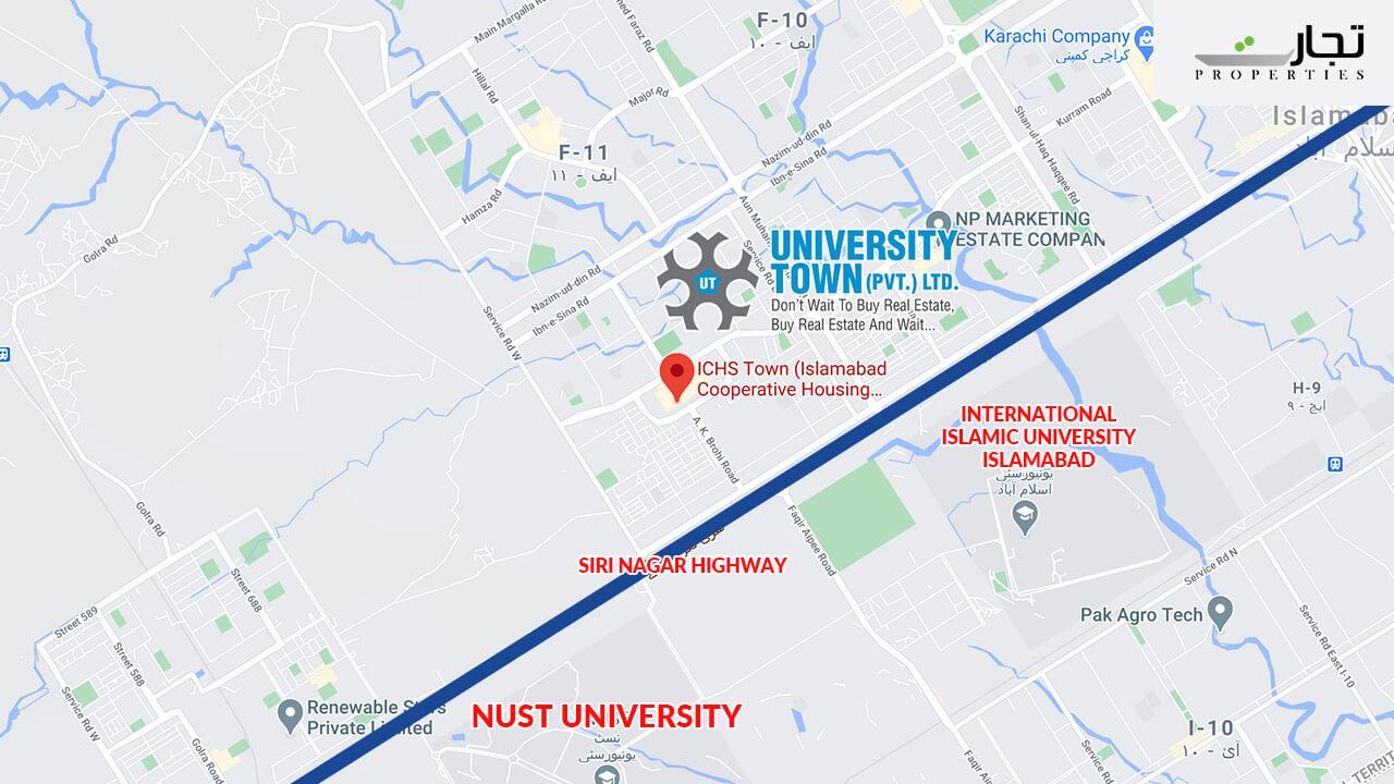 University Town Islamabad Map Location