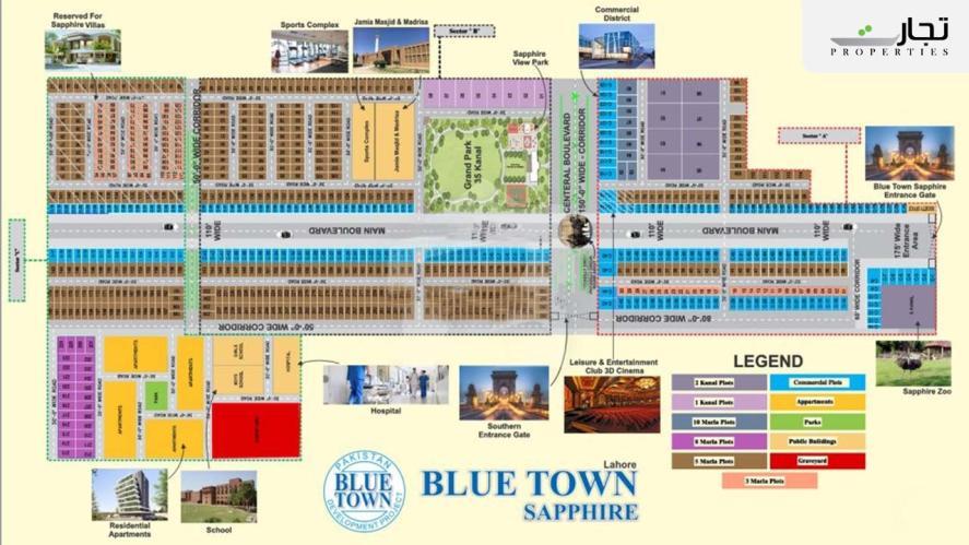 Blue Town Sapphire Lahore Master Plan