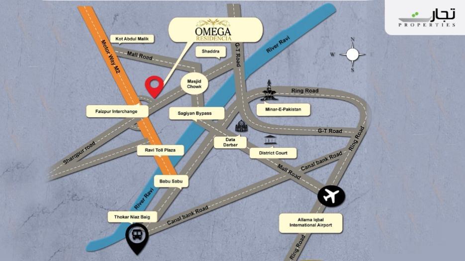 Omega Residencia Lahore Location