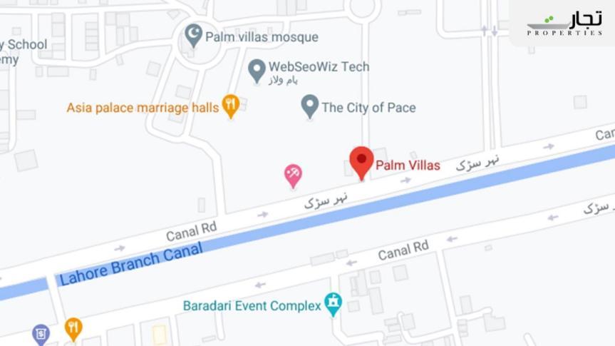 Palm Villas Lahore Location