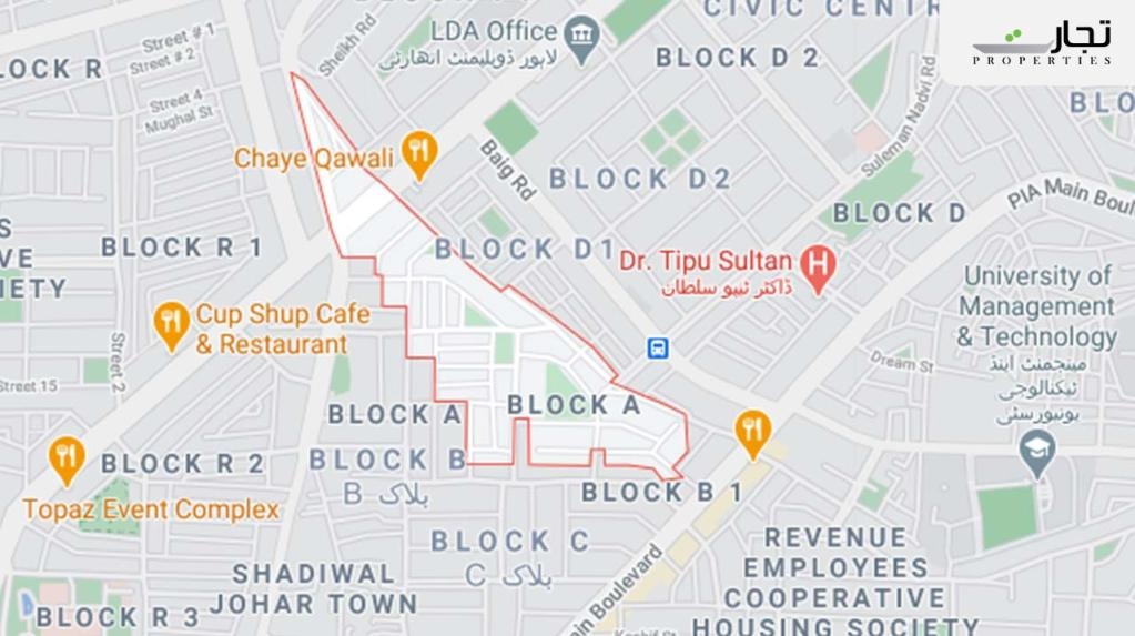 Block A of Revenue Employees Cooperative Housing Society Lahore