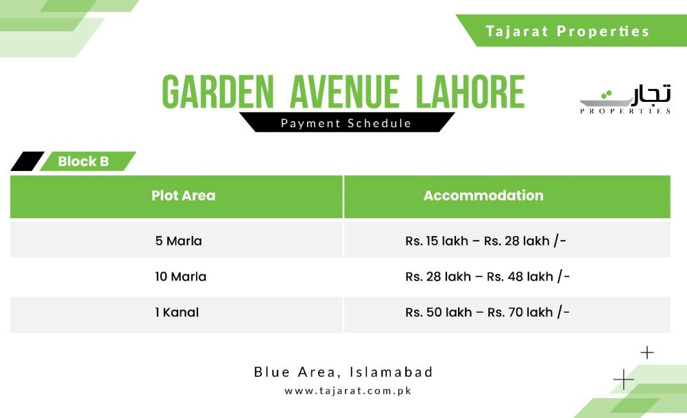 Grand Avenue Lahore Payment Prices for Block B