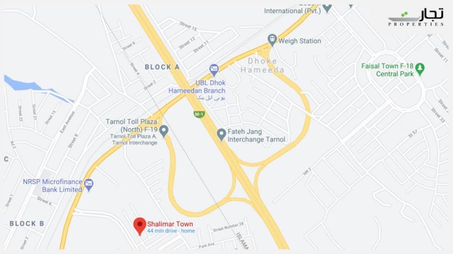 Shalimar Town Islamabad Location