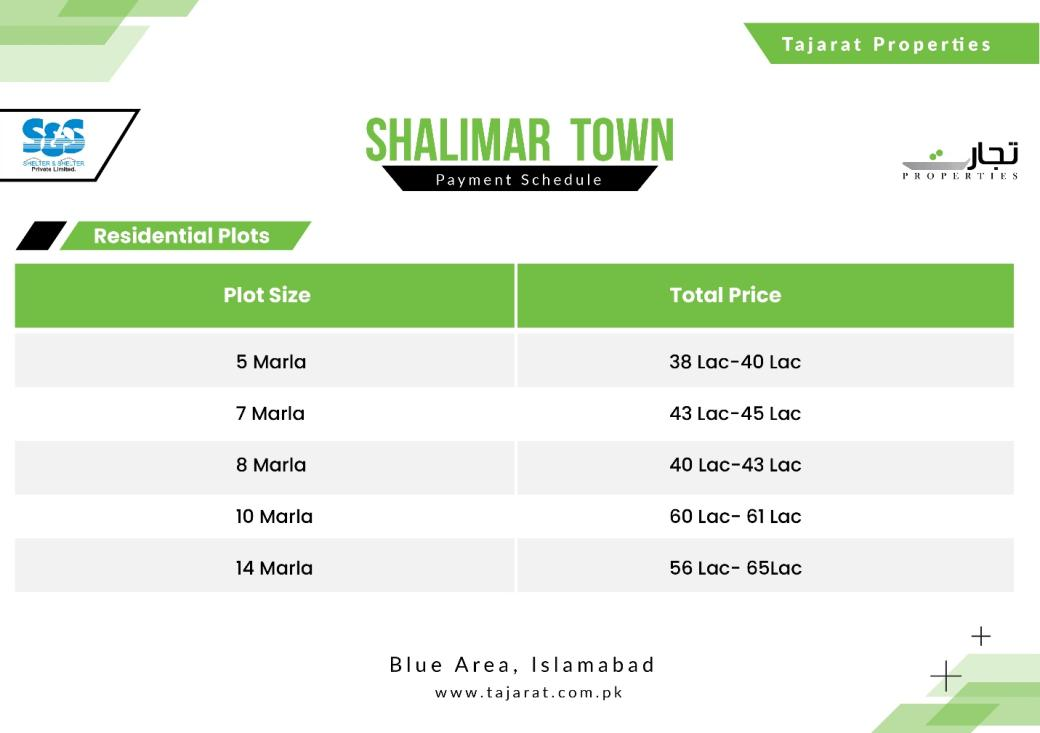 Shalimar Town Islamabad Payment Plan