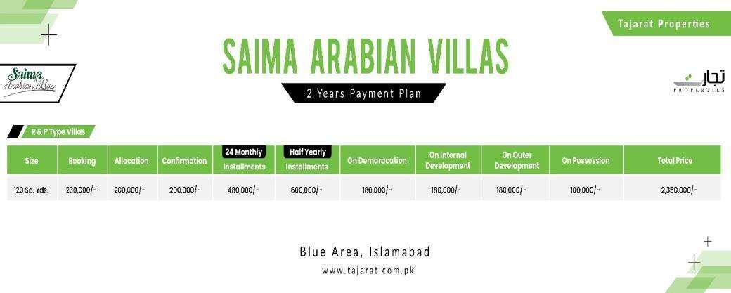 Saima Arabian R & P Type Villas Payment Plan 2 Years