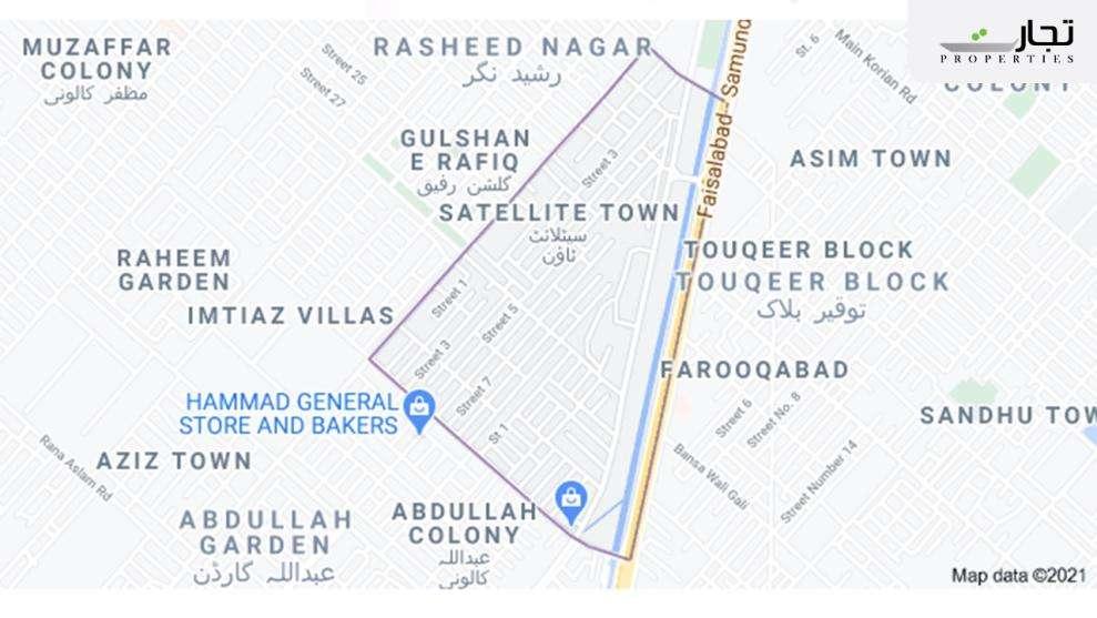 Satellite Town Faisalabad Location