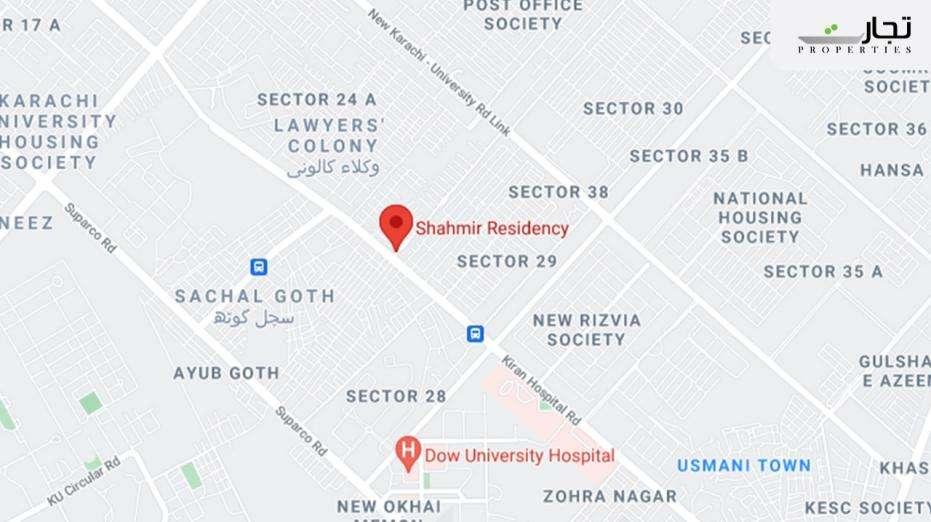 Shahmir Residency Karachi Location