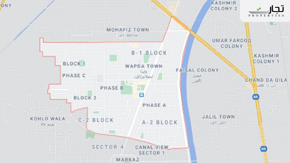 Wapda Town Gujranwala Location map