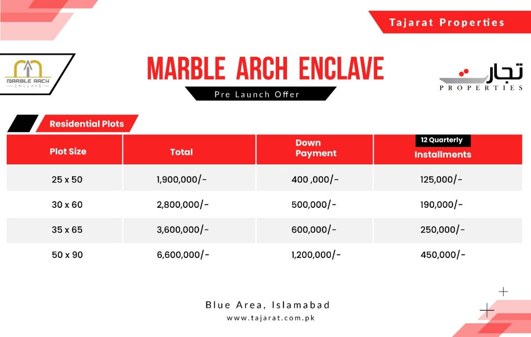 Marble Arch Enclave Islamabad Payment Plan