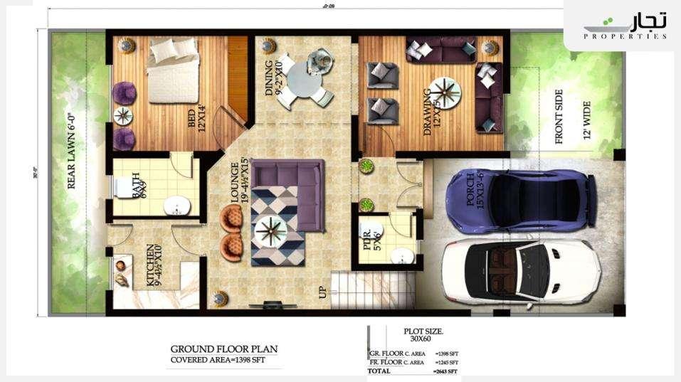 Graceland Housing Islamabad 8 Marla Deluxe Ground Floor Plan (4-bed)