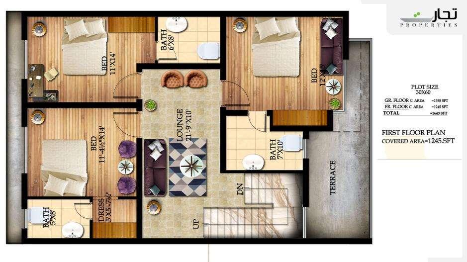 Graceland Housing Islamabad 8 Marla First Floor Deluxe Floor Plan