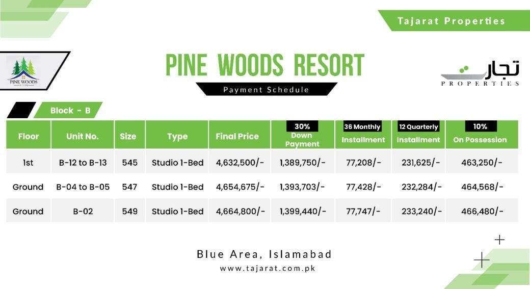 Pine Woods Resort Block – B Payment Plan