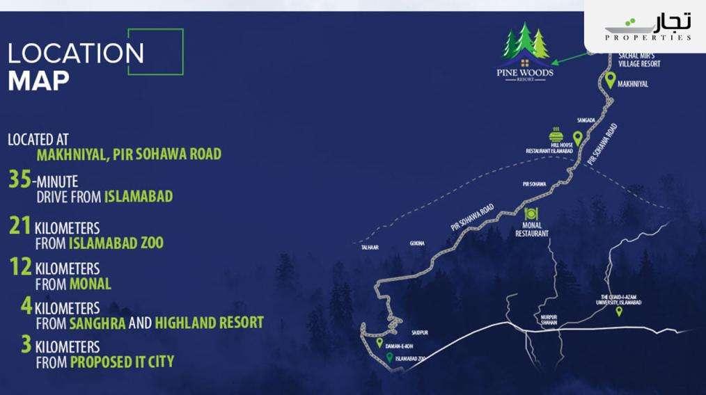 Pine Woods Resort Islamabad Location