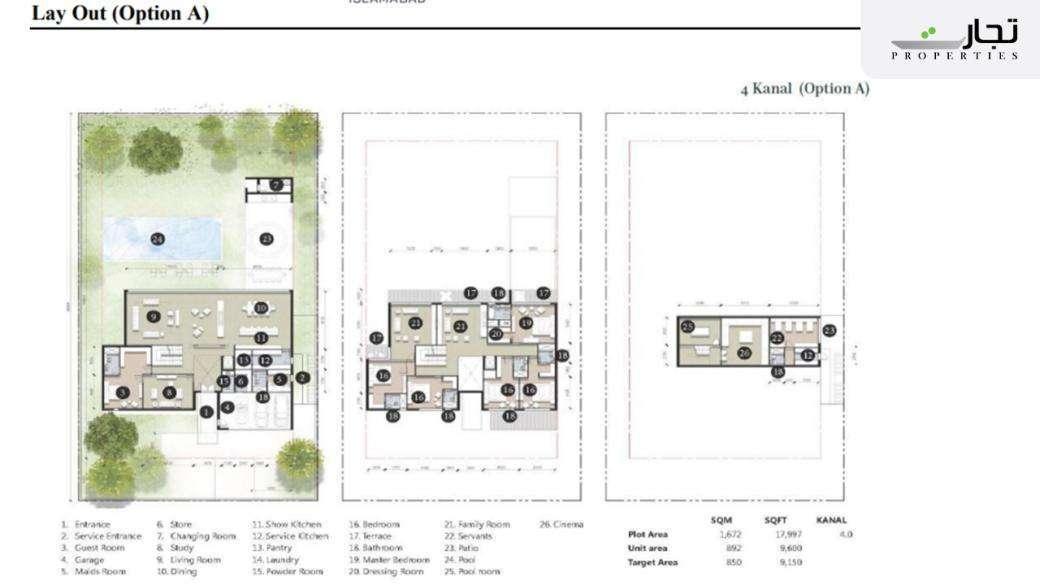 Eighteen Islamabad Layout Plan 4 Kanal (Option A)