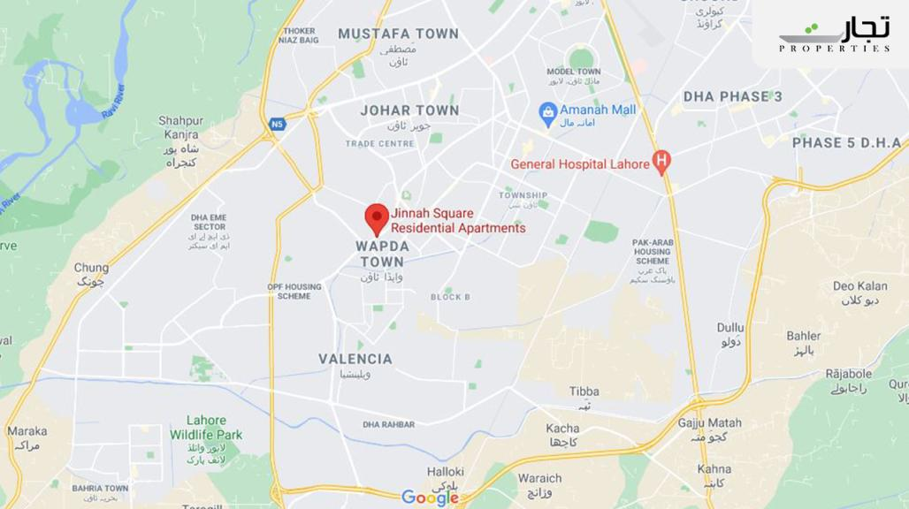 Jinnah Square Residential Apartments Lahore Location