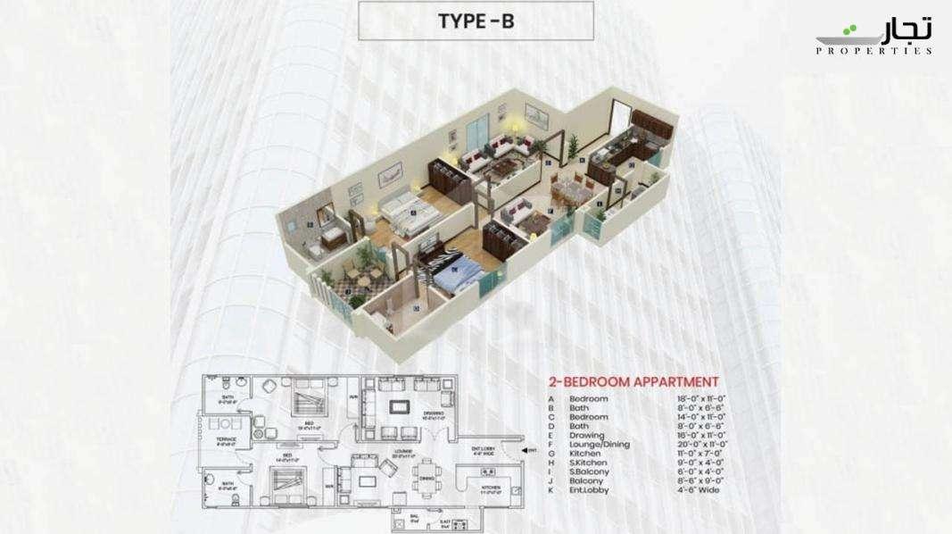 Maymar Pride Karachi Type B Floor Plan