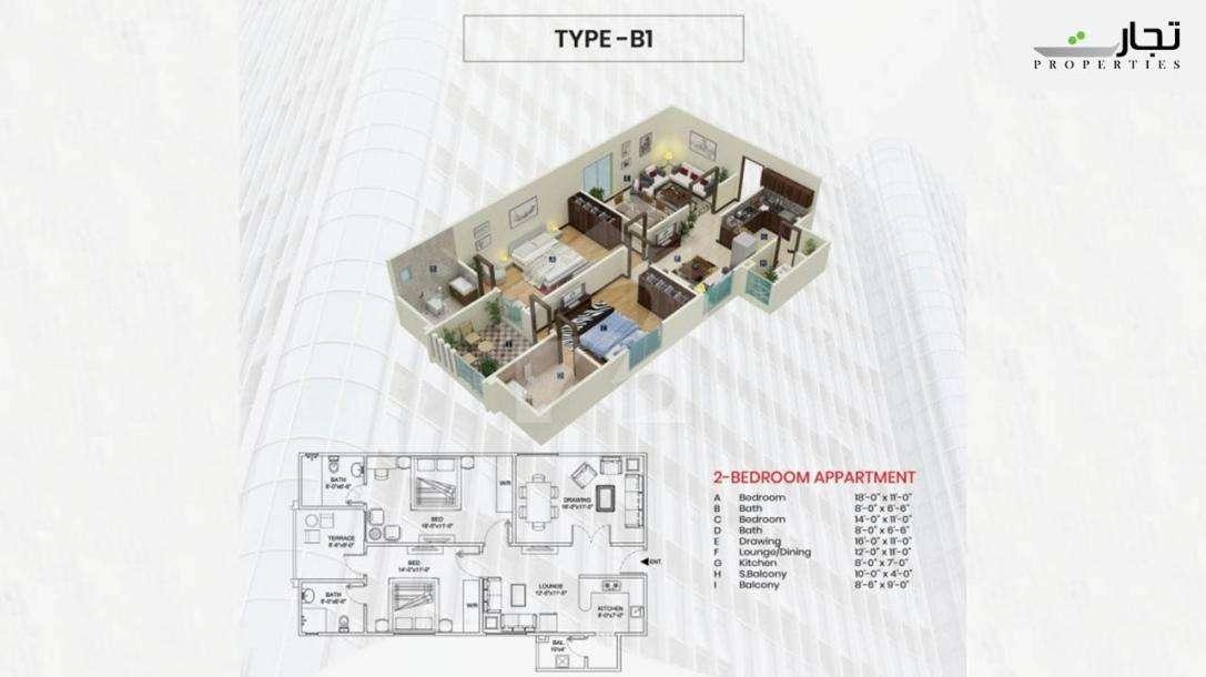 Maymar Pride Karachi Type B1 Floor Plan