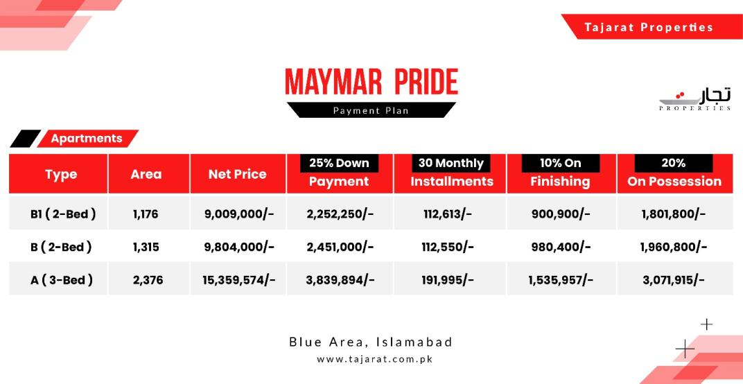 Maymar Pride Karachi Payment Plan