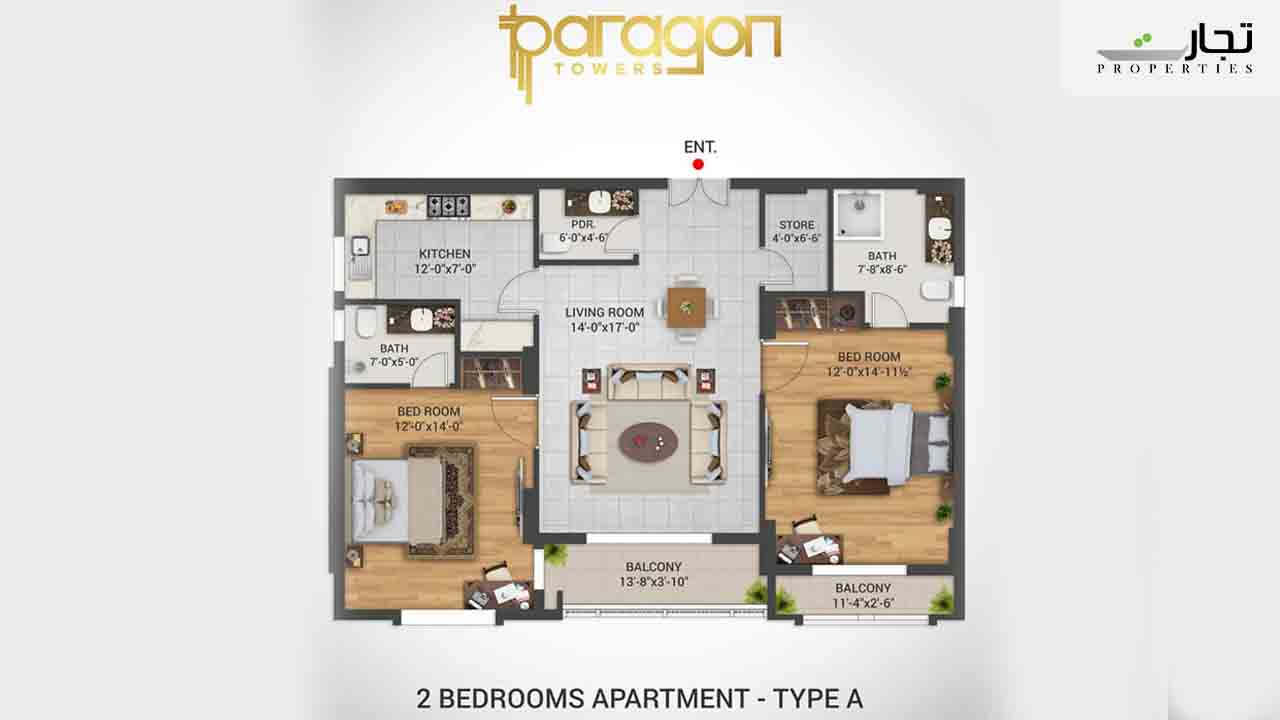Paragon Towers Floor Plan 2-bed Type A