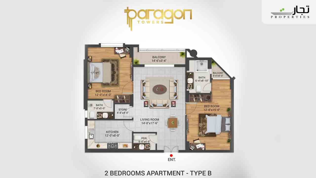 Paragon Towers Floor Plan 2-bed Type B