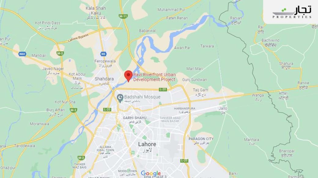 Ravi Riverfront City Lahore Location Map